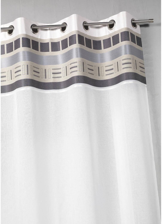 Voilage en étamine avec parement haut design (Blanc)