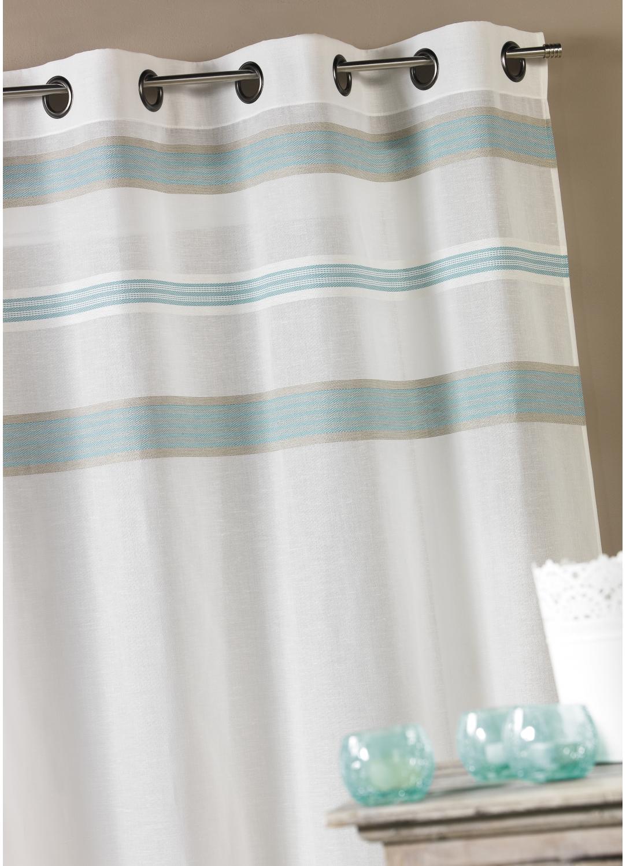 Voilage en étamine avec rayures horizontales (Acqua)