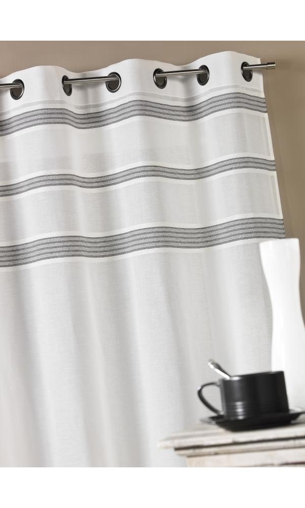 Voilage en étamine avec rayures horizontales - Gris - 145 x 240 cm