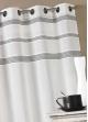 Voilage en étamine avec rayures horizontales  Gris