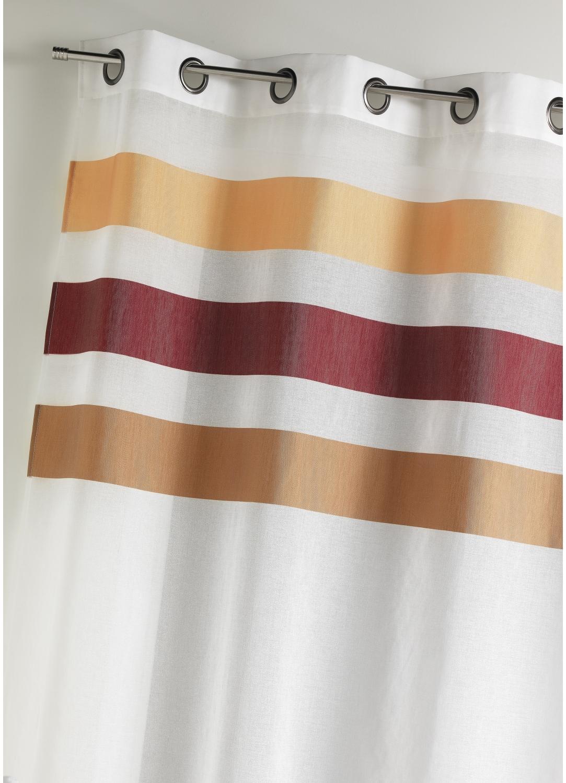 Voilage en étamine fantaisie à rayures horizontales (Bordeaux)