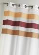 Voilage en étamine fantaisie à rayures horizontales  Bordeaux