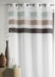 Voilage en étamine fantaisie à rayures horizontales  Chocolat