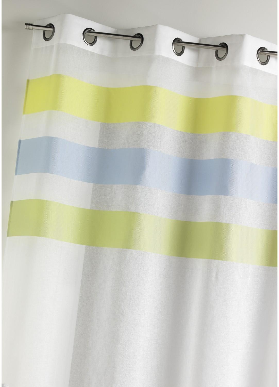 Voilage en étamine fantaisie à rayures horizontales (Anis)