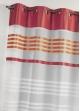 Voilage en étamine légère avec rayures horizontales Corail