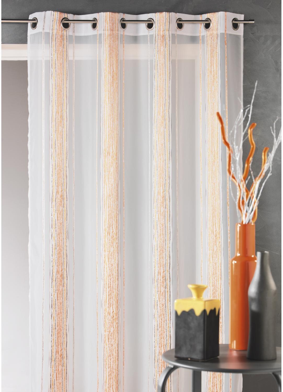 Voilage en jacquard à fines rayures verticales (Mandarine)