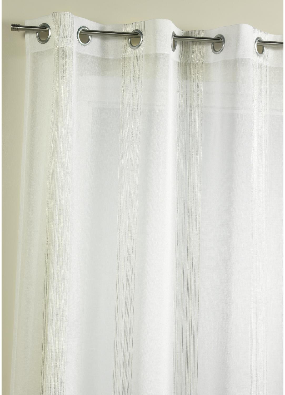 Voilage fantaisie à rayures verticales tissées (Blanc)