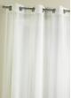 Voilage fantaisie à rayures verticales tissées Blanc