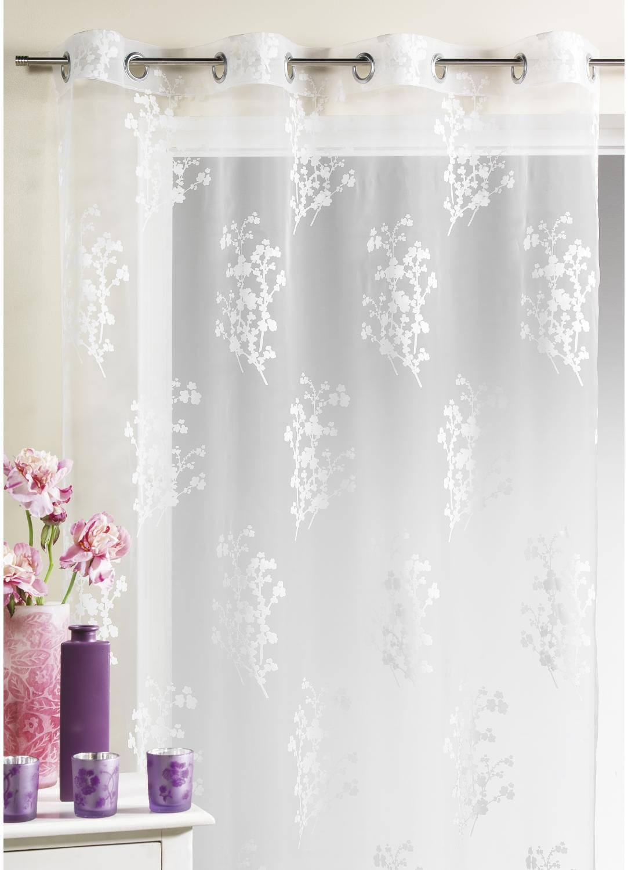 voilage organza d vor avec imprim s floral blanc homemaison vente en ligne voilages. Black Bedroom Furniture Sets. Home Design Ideas