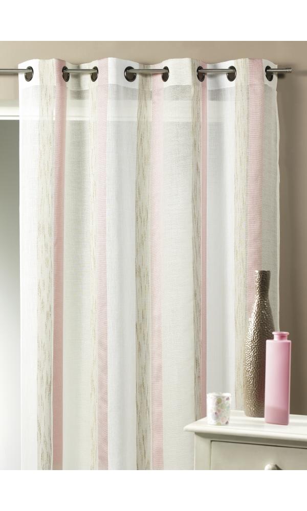 voilage tiss rayures verticales bois de rose acqua. Black Bedroom Furniture Sets. Home Design Ideas