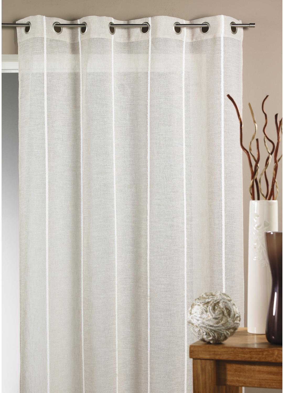 Voilage tamine fines rayures verticales lin ivoire gris homemaison vente en ligne for Voilage en lin