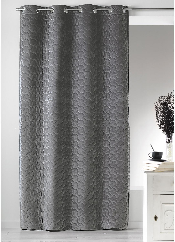 rideau uni en velours matelass gris homemaison vente en ligne rideaux. Black Bedroom Furniture Sets. Home Design Ideas