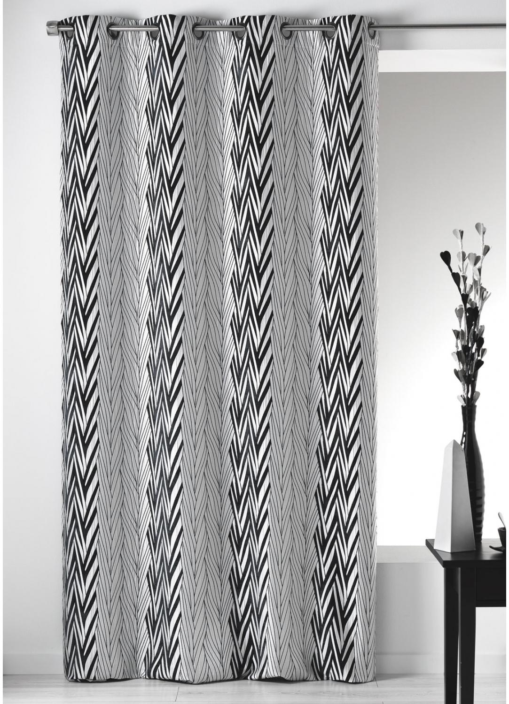 rideau en jacquard chenille rayures graphiques noir homemaison vente en ligne rideaux. Black Bedroom Furniture Sets. Home Design Ideas