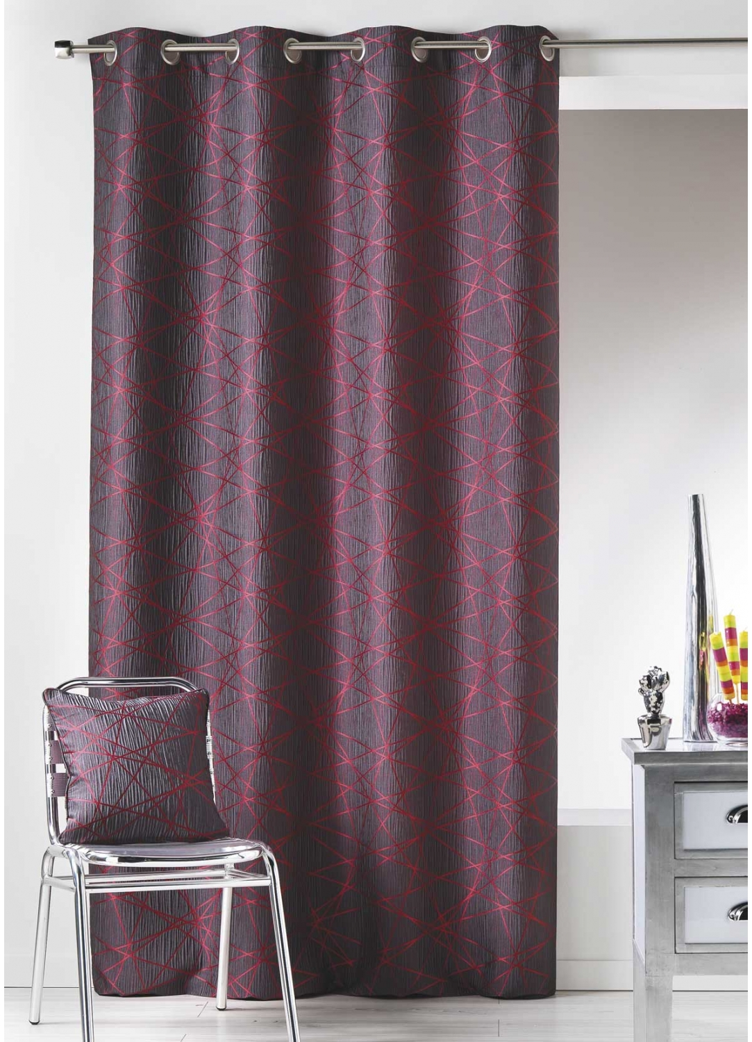 rideau en jacquard imprim s design framboise bordeaux lin gris homemaison vente. Black Bedroom Furniture Sets. Home Design Ideas