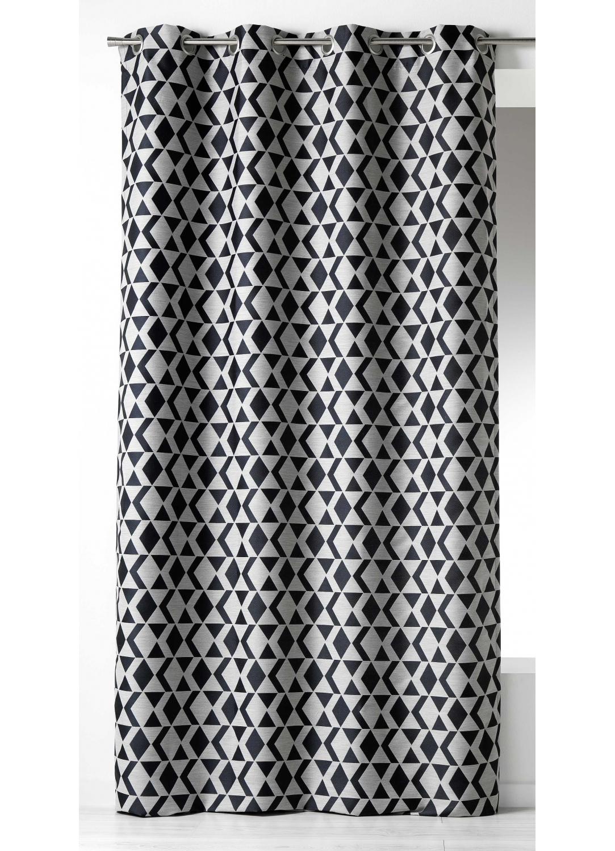 rideau en jacquard imprim s graphiques noir ivoire homemaison vente en ligne rideaux. Black Bedroom Furniture Sets. Home Design Ideas