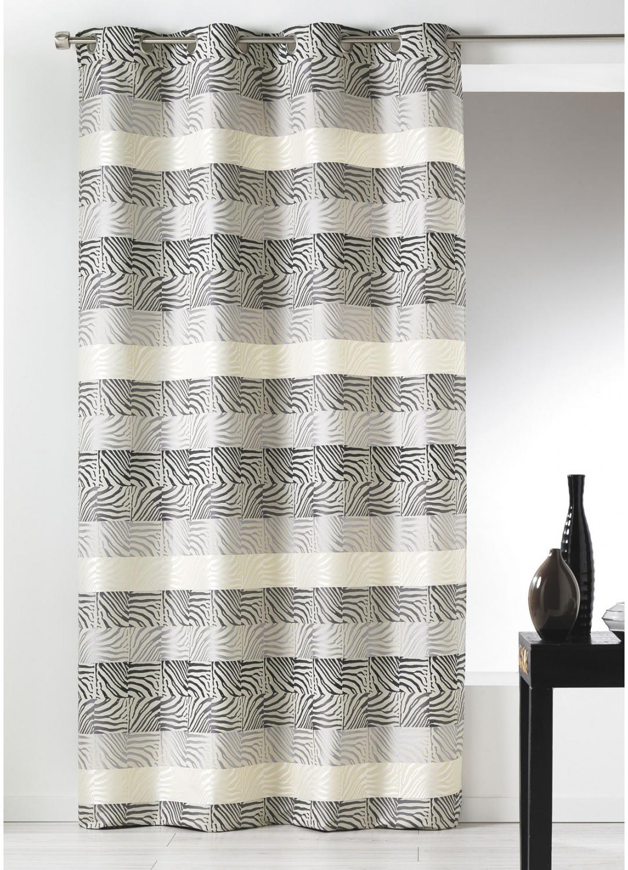 Cortina en jacquard a rayas horizontales cebreado gris for Cortinas en tonos grises