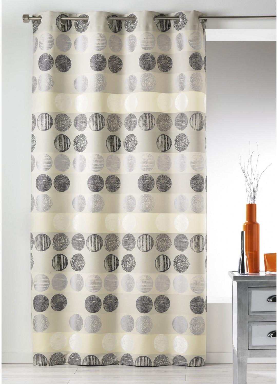 rideau en jacquard rayures horizontales pois gris terracotta homemaison vente en. Black Bedroom Furniture Sets. Home Design Ideas