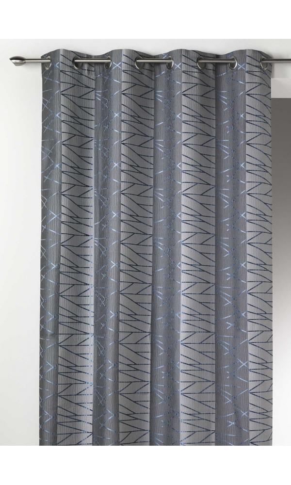 Rideau en Jacquard à Rayures Verticales Fun - Bleu - 135 x 260 cm