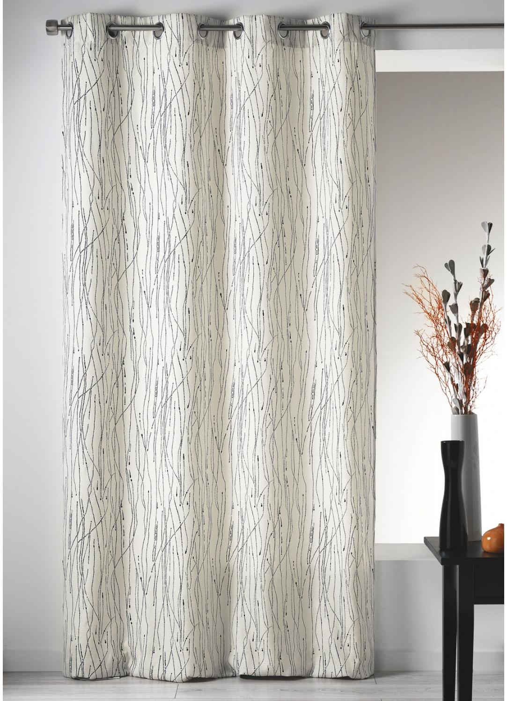 rideau en toile imprim e zigzag ivoire gris homemaison vente en ligne rideaux. Black Bedroom Furniture Sets. Home Design Ideas