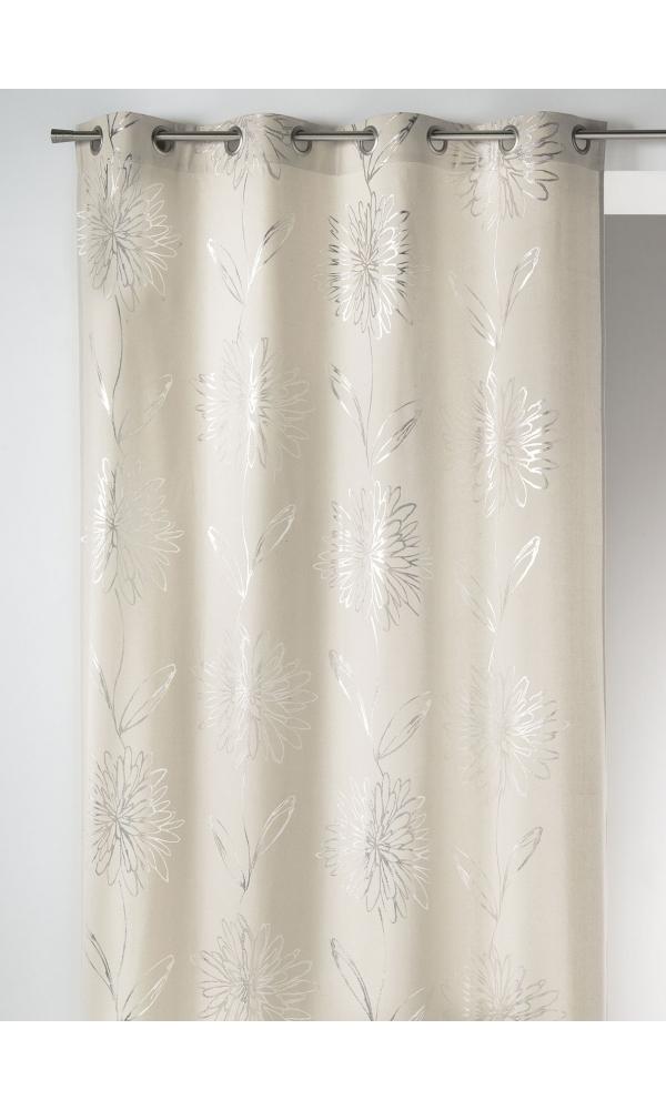 Rideau en Toile de Coton à Imprimés Fleuris Ton sur Ton - Ecru - 140 x 260 cm