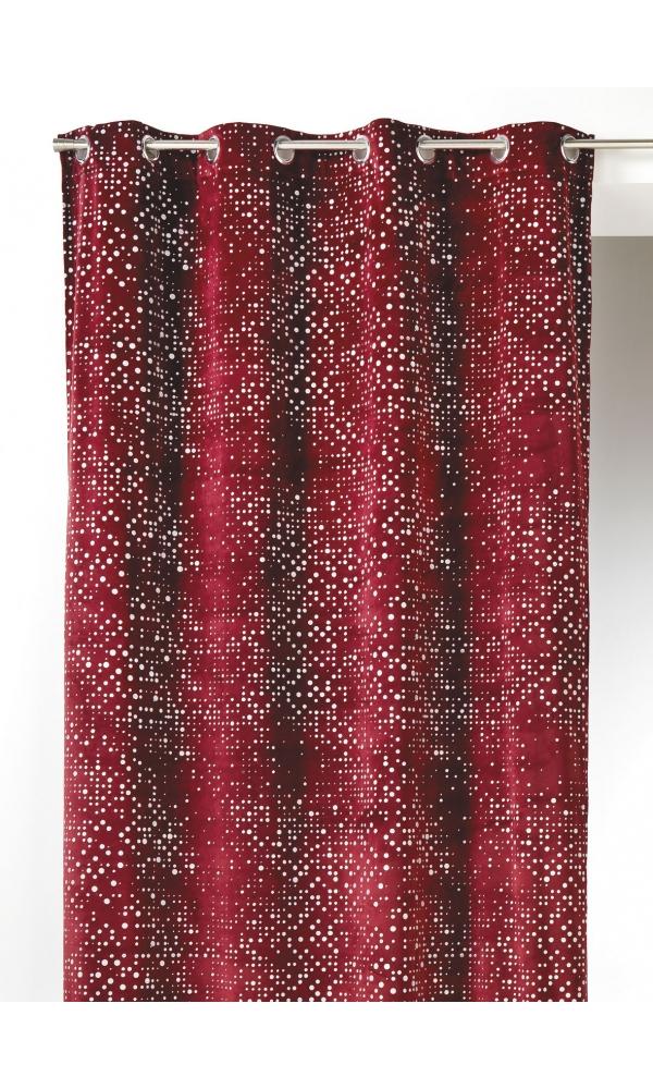Rideau en Velours à Impressions Paillette - Bordeaux - 140 x 260 cm. Rideau vendu à l'unitéColoris: beige, bordeaux,