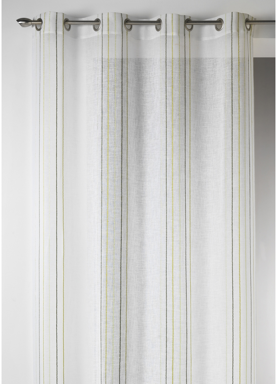 Voilage Design en Etamine à Rayures Verticales (Bambou)