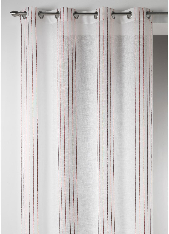 voilage design en etamine rayures verticales bordeaux camel aqua bambou rose. Black Bedroom Furniture Sets. Home Design Ideas