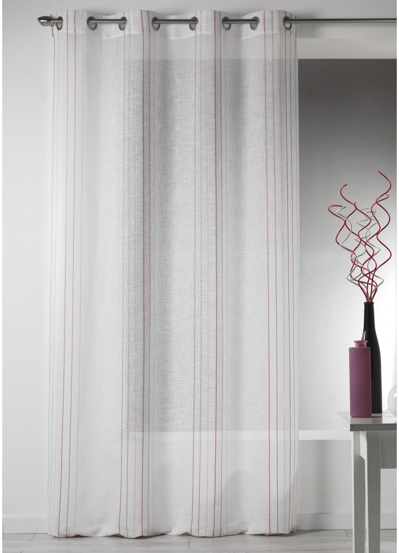 voilage design en etamine rayures verticales rose. Black Bedroom Furniture Sets. Home Design Ideas