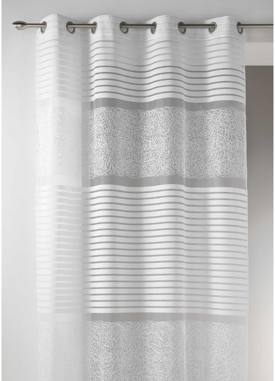 Voilage fantaisie en organza rayures horizontales blanc ivoire beige - Voilage organza blanc ...
