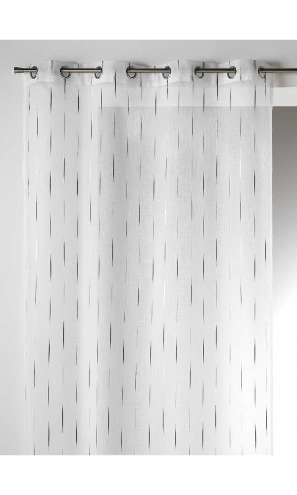 Voilage en Etamine Jacquard Traits Fins - Gris - 140 x 260 cm