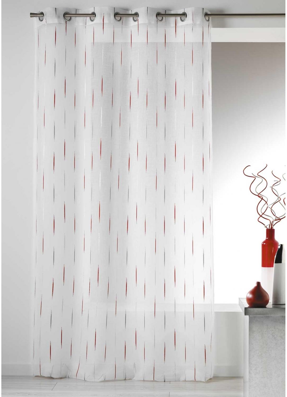 voilage en etamine jacquard traits fins piment blanc. Black Bedroom Furniture Sets. Home Design Ideas