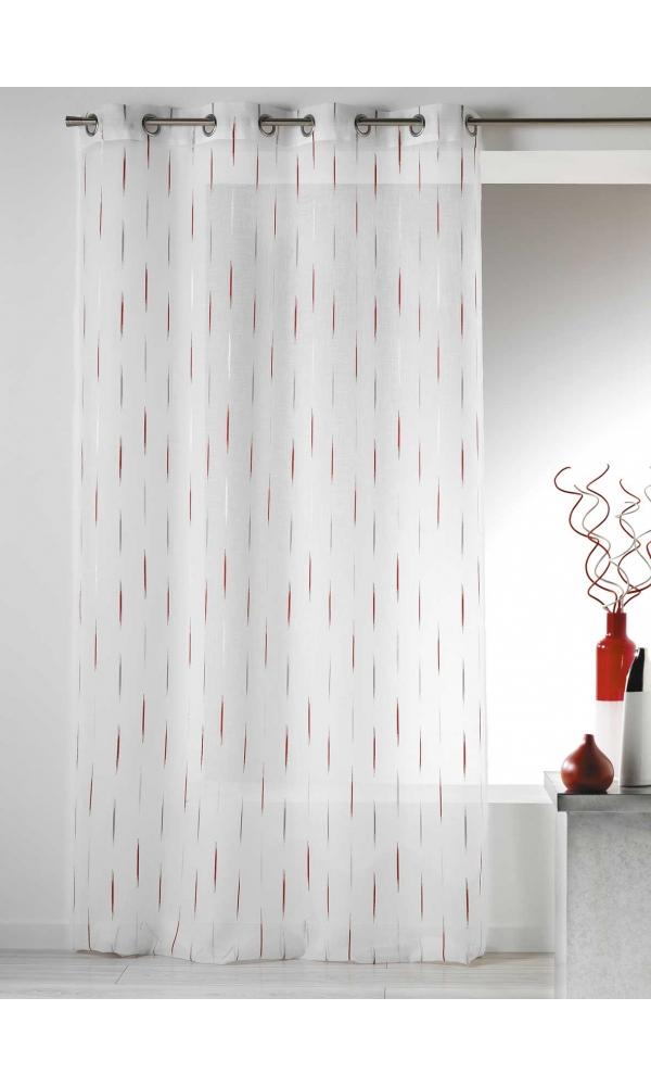 Voilage en Etamine Jacquard Traits Fins - Piment - 140 x 260 cm
