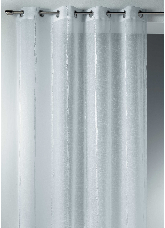 Voilage en Etamine Jacquard à Rayures Verticales Design (Blanc)
