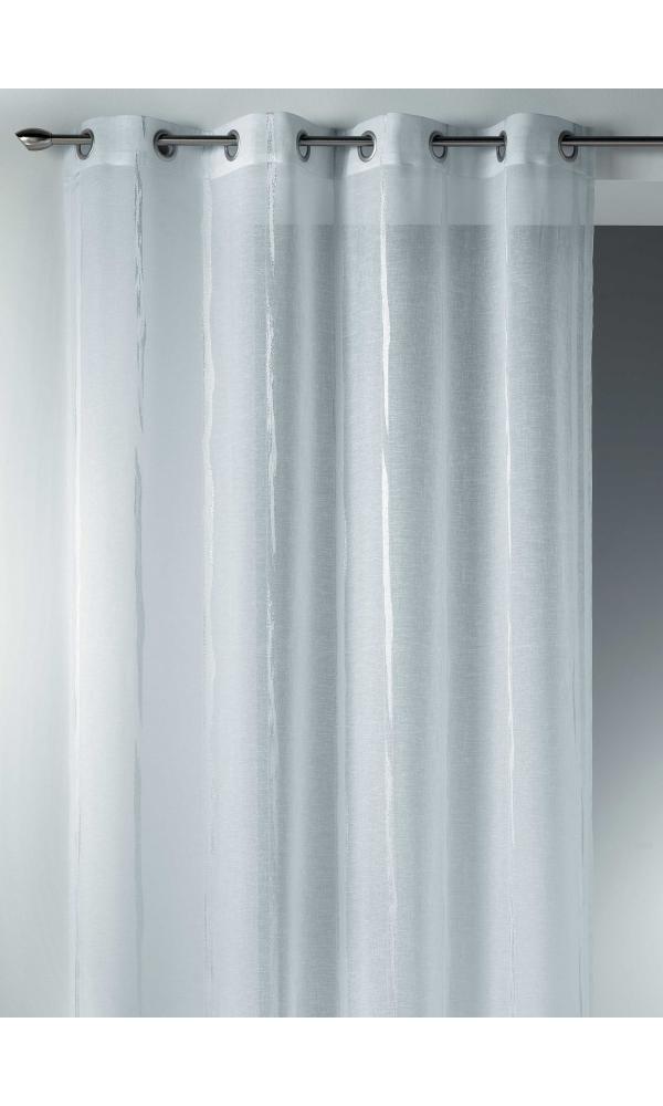 voilage en etamine jacquard rayures verticales design blanc gris homemaison vente en. Black Bedroom Furniture Sets. Home Design Ideas