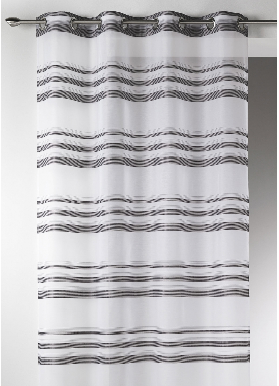 voilage moderne en etamine rayures horizontales gris blanc taupe bois de rose. Black Bedroom Furniture Sets. Home Design Ideas