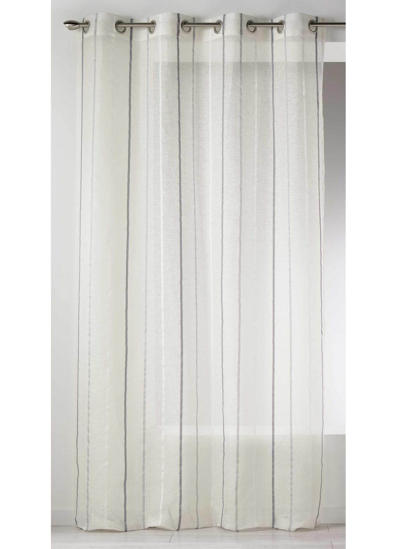 voilage en lin rayures verticales blanc beige. Black Bedroom Furniture Sets. Home Design Ideas