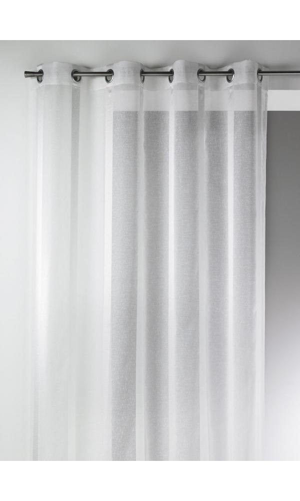 Voilage en Etamine à Rayures Verticales Larges - Blanc - 150 x 260 cm