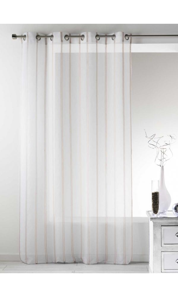 Voilage en Etamine à Rayures Verticales - Lin - 140 x 260 cm