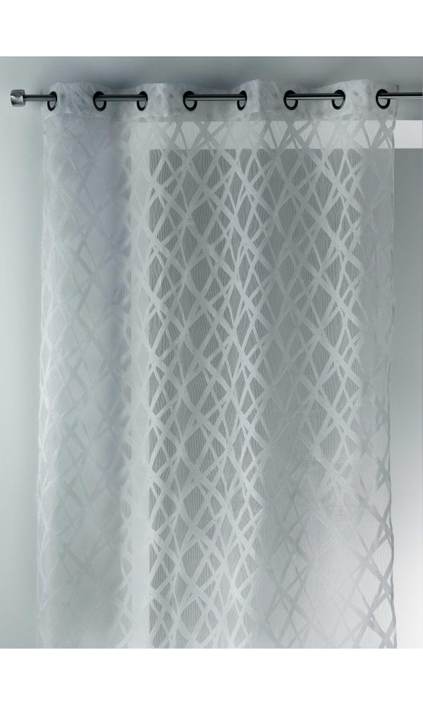 Voilage en organza jacquard design blanc noir ivoire gris homema - Voilage organza blanc ...