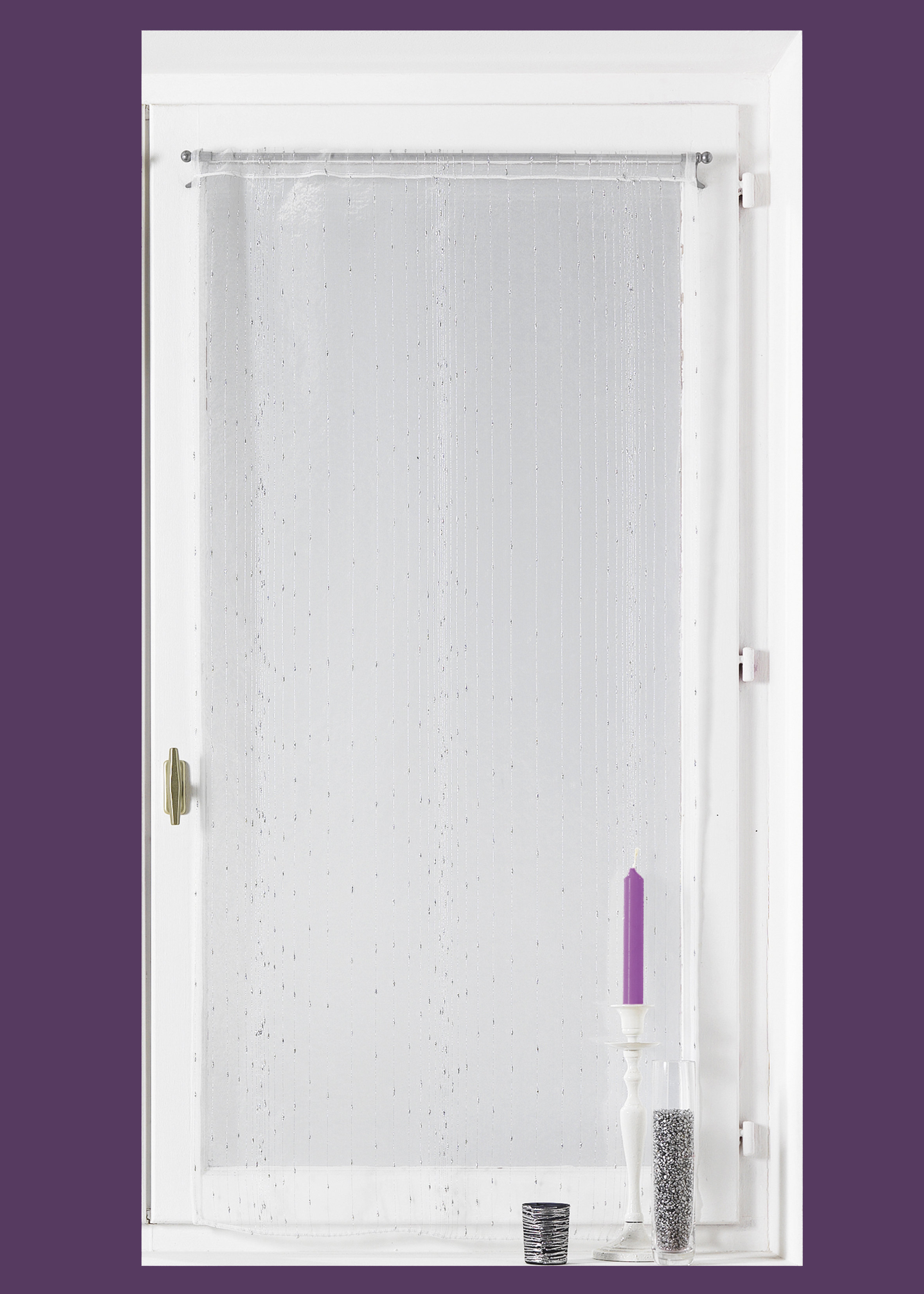 Voilage Vitrage en organza fantaisie 'goutte d'eau métallique' (Blanc)