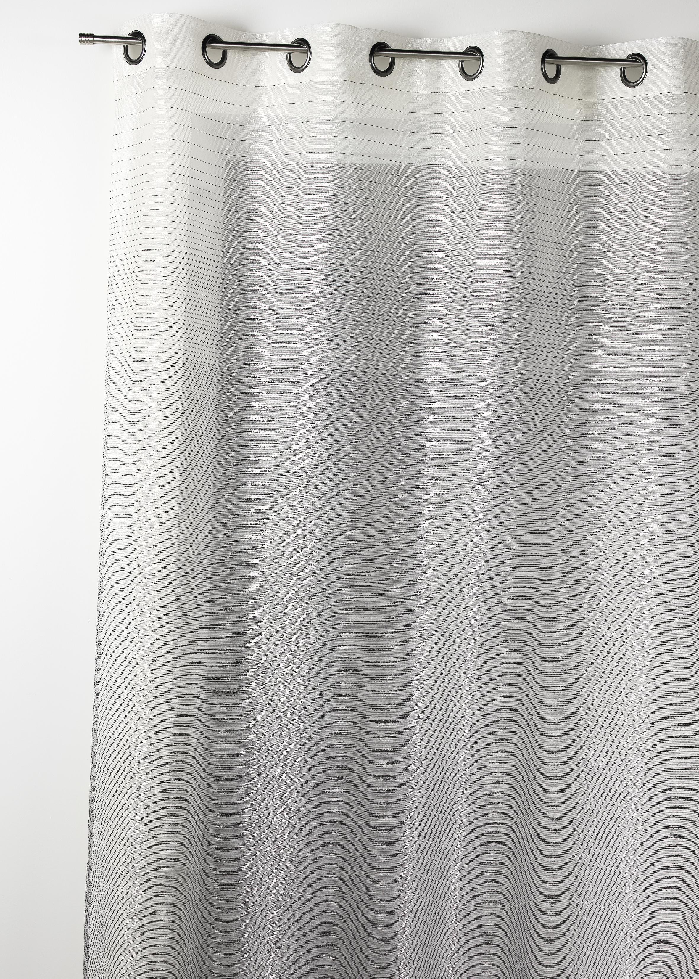 Voilage fantaisie à rayures horizontales dégradées (Gris)
