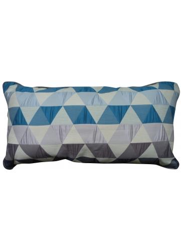 Coussin en Jacquard aux Motifs géométriques rectangle bleu pétrole