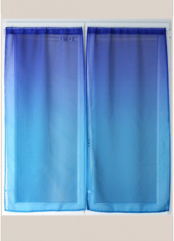Paire de voilage en étamine imprimée dégradée (Bleu)
