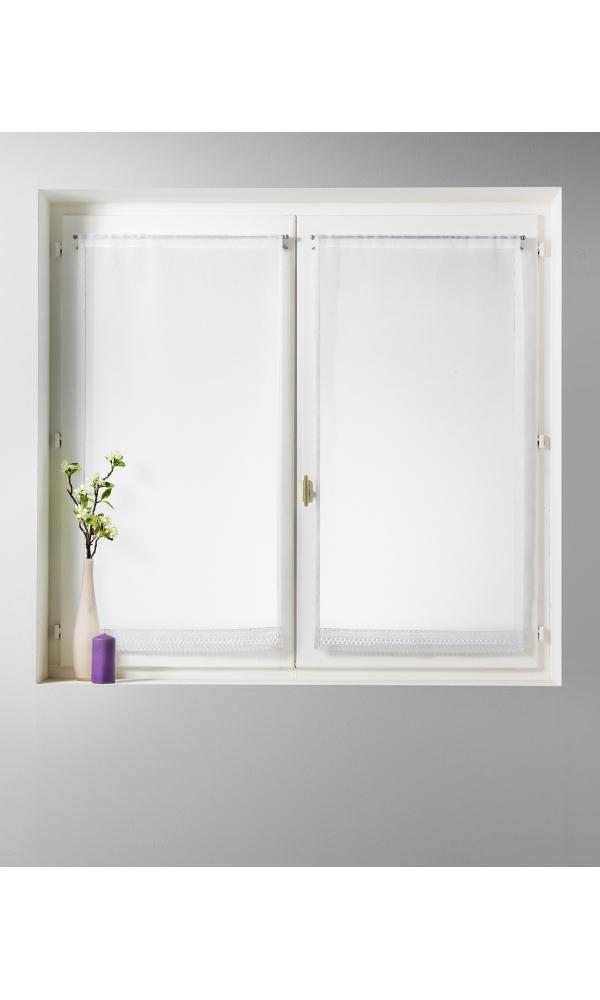 paire de voilage bouchara en tamine unie avec base macram blanc homemaison vente en. Black Bedroom Furniture Sets. Home Design Ideas