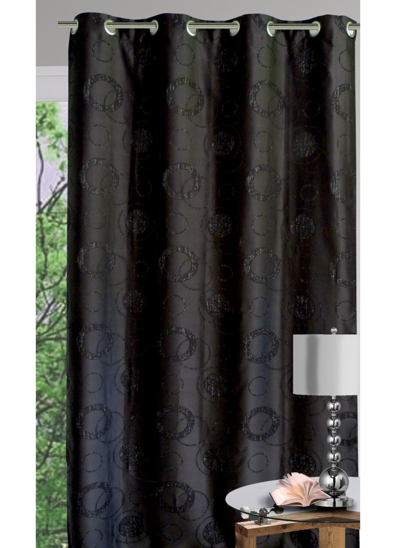 Rideau ameublement gros ronds et fils argentés (Noir)