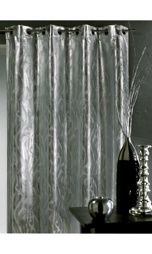 Rideau aux impressions argentés - Anthracite - 140 x 260 cm