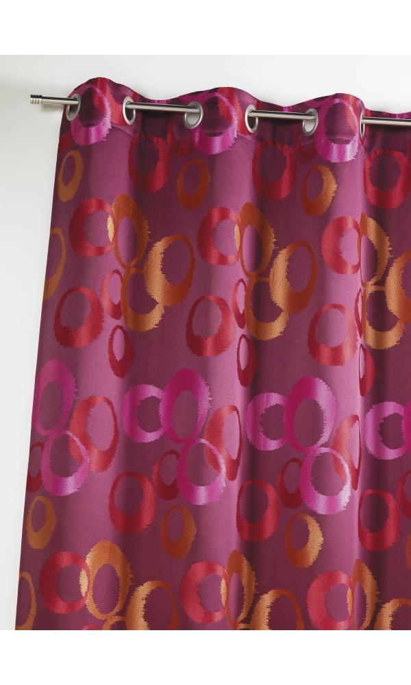 Rideau en jacquard à imprimés cercles fantaisies - Piment - 140 x 260 cm