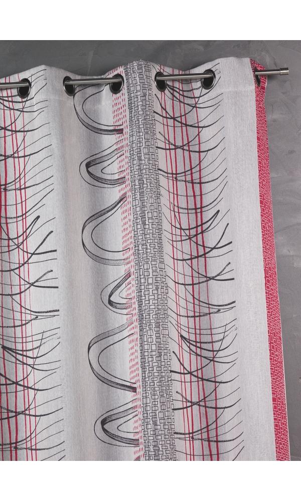 Rideau en jacquard à rayures verticales aux imprimés graphiques - Piment - 140 x 260 cm