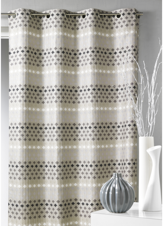 rideau en jacquard rayures horizontales petits losanges gris homemaison vente en ligne. Black Bedroom Furniture Sets. Home Design Ideas