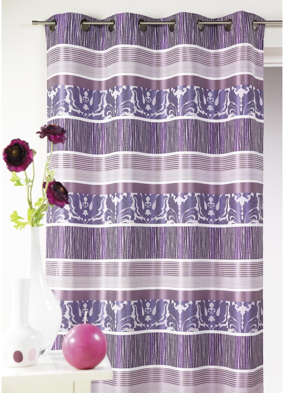 Rideau en jacquard à rayures horizontales colorées (Bois de Rose)